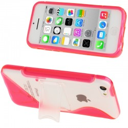 Frosted Plastic + TPU Protective Cover med Holder til iPhone 5C (Pink)