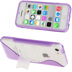 Frosted Plastic + TPU Protective Cover med Holder til iPhone 5C (Lilla)