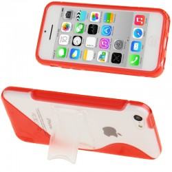 Frosted Plastic + TPU Protective Cover med Holder til iPhone 5C (Rød)