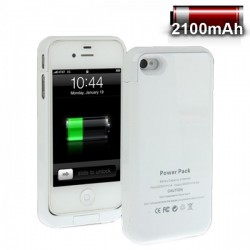2100mAh External Battery Backup Power Bank Cover til iPhone 4 & 4S (Hvid)