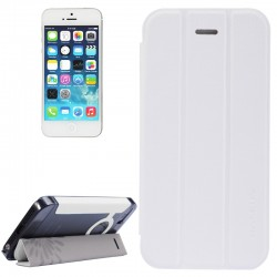 Baseus Tri-Fold Ultra Slim Flip Leather Case with Holder for iPhone 5 & 5S (White)