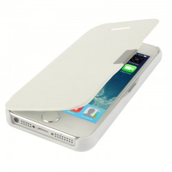 Brush Texture Flip Leather Case with Magnet Button for iPhone 5 & 5S (Hvid)