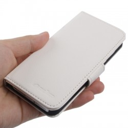 Melkco Litchi Texture Luxury Handmade Leather Case with Credit Card Slot for iPhone 5 & 5S (Hvid)