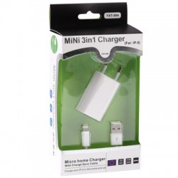2 in 1 (5V 1A EU Plug Travel Charger Adapter) til iPhone 5 / 5S / 5C, iPod Touch 5 th / iPod Nano 7G