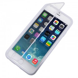 Horizontal Flip Touch Screen Frosted TPU Protection Case for iPhone 6(Hvid)