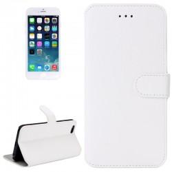 Horizontal Flip Læder Etui med Holder til iPhone 6 (Hvid)