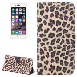 Leopard Print Pattern Horizontal Flip Læder Case med kort Holder og Holder til iPhone 6