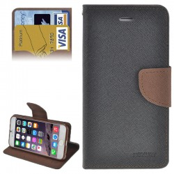 Cross Texture Horizontal Flip Læder Etui med Kort Holder & Holder til iPhone 6 Plus(Grå)