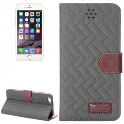 Woven Mønstre Vandret Drejning Magnetisk Læderetui med Kortholder & Holder til iPhone 6 Plus (Grå)