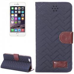 Woven Mønstre Vandret Drejning Magnetisk Læderetui med Kortholder & Holder til iPhone 6 Plus (Blå)