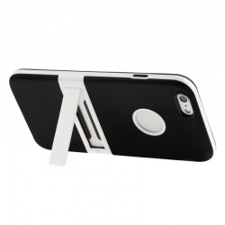 Frosted TPU Cover med Aftageligt Plastik Bumper & Holder til iPhone 6 Plus (Sort)