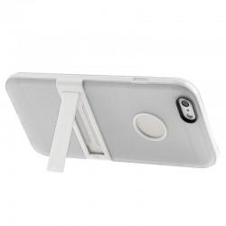 Frosted TPU Cover med Aftageligt Plastik Bumper & Holder til iPhone 6 Plus (Hvid)