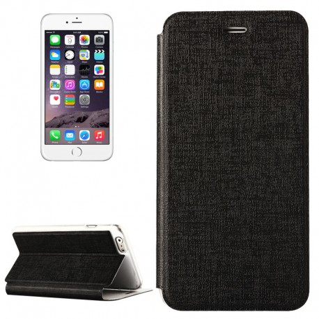 Oracle Texture Horizontal Flip Læder Cover Med Holder til iPhone 6 Plus (Sort)