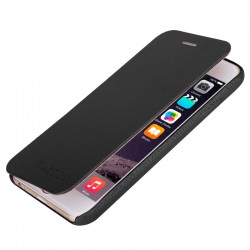 Naston Litchi Mønstre Horizontal Flip Classic Top-grain Læder Etui til iPhone 6 (Sort)