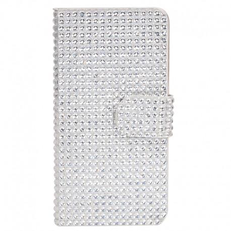 Diamand Mønstre Læder Etui med Kort Holder til iPhone 6 (Sølv)