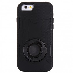 Shockproof Touch LCD + Silicone + Hård Plastik Etui med Ring Holder til iPhone 6 (Sort)