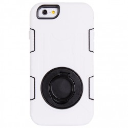 Shockproof Touch LCD + Silicone + Hård Plastik Etui med Ring Holder til iPhone 6 (Hvid)