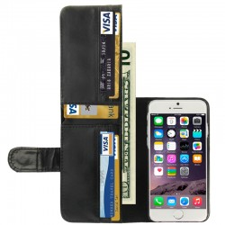 Crazy Horse Texture Pung Style Læder Etui med Kort Holder til iPhone 6 (Sort)
