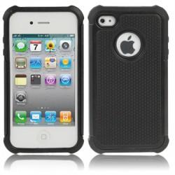 Shock Proof Dual Layer Gele Silikone Hård Plastik Cover til iPhone 4 & 4S (Sort)