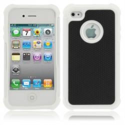 Shock Proof Dual Layer Gele Silikone Hård Plastik Cover til iPhone 4 & 4S (Hvid)