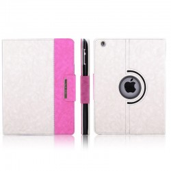 iPad 2 / 3 (New iPad) Med 360 Graders Roterende Case (Hvid+Pink)