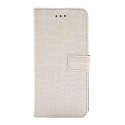 Crocodile Texture Læder Etui med Kort Beholder til iPhone 6 (Hvid)