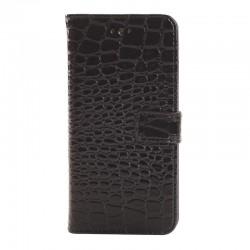 Crocodile Texture Læder Etui med Kort Beholder til iPhone 6 (Sort)