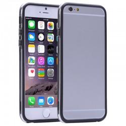 Gennemsigtig Plastik + TPU Bumper til iPhone 6 Plus (Sort)