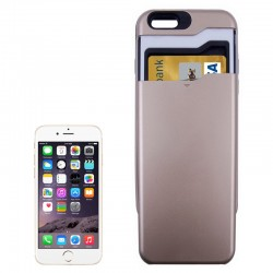Multifunctional PC + TPU Combination Cover med kort Holder til iPhone 6 (Guld)