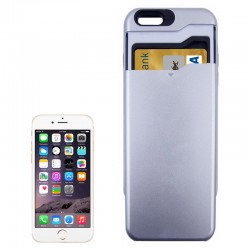 Multifunctional PC + TPU Combination Cover med kort Holder til iPhone 6 (Sølv)