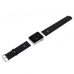 Carbon Fiber Texture Replacement Leather Watchband til Apple Watch 38mm , Size: 13cmx2cm (Sort)