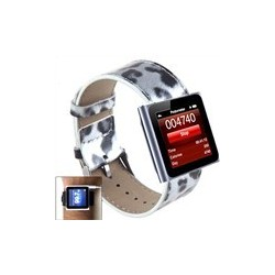 Leopard Leather Watch Band Wrist Strap for iPod Nano 6 / 7 - Grey Spot
