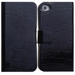 Læder Cover med Krokodille Mønstre og Kort Holder til iPhone 4 / 4S (Sort)