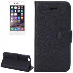 iPhone 6 Plus / 6S Plus Læder Etui med Lommer til Kreditkort (Sort)