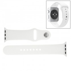 "Apple Watch / 38 mm - Sport Gummi Urrem med ""Pin-and-tuck"" Lukning (Hvid)"
