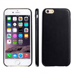 iPhone 6S / 6 Ultra-tynd Læder Bag Cover (Sort)