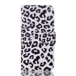 Leopard Mønstre Vandret Drejning Læder Etui med Kortholder & Bagcover til iPhone 6S / 6  (Hvid)