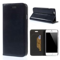 Glossy Læder Beskyttelses Cover til iPhone 6S / 6 - mørkeblå