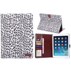 360 Grader Rotation Grå Leopard Mønstre Leather Case with 2 Gears Holder til iPad Air