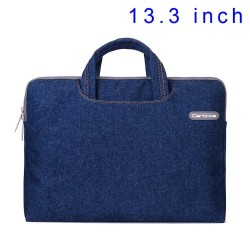 Blue Cartinoe Jean Series Notebook Sleeve Case Bag for MacBook Air Pro 13.3 inch, Størrels: 34 x 26cm