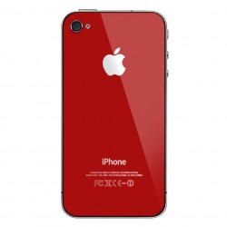 iPhone 4S Back Cover Glass With Black Supporting Frame - Red