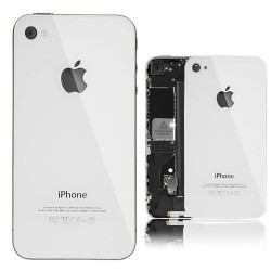 iPhone 4S Back Cover Glass With Black Supporting Frame - White
