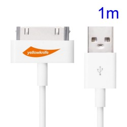 YellowKnife MFi Certificeret IOS7 1M 30pin USB Sync Oplader Round Cord til iPhone 4S 4 iPad 2 3 iPod Touch 3 4 - Hvid