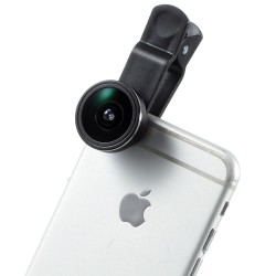 Universal Clip 185 Graders Fisheye Linse til iPhone Samsung HTC LG - Sort