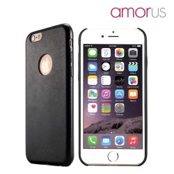 Apple iPhone 6S Plus 6 Plus AMORUS Læder Skin PC Hard Cover Sort