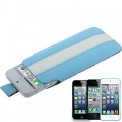 Apple iPhone iPod Læder Cover Pose Blå Hvid
