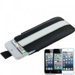 Apple iPhone iPod Læder Cover Pose Sort Hvid