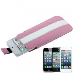 Apple iPhone iPod Læder Cover Pose Pink Hvid