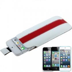 Apple iPhone iPod Læder Cover Pose Hvid Rød