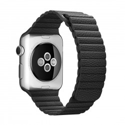 Apple Watch 42mm Loop Magnetisk Closure Clasp PU Læder Armbånd Sort